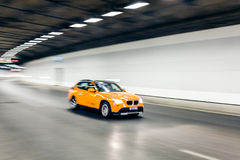 Interior of an urban tunnel with car,motion blur Royalty Free Stock Photography