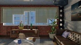 Interior urbano da sala de visitas no estilo do projeto do sótão Ilustração Royalty Free