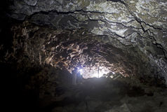 Interior of USFS Gated Lava Tube Cave In Oregon Stock Photo