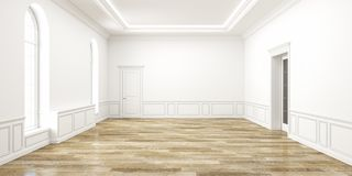 Interior vacío blanco clásico del espacio 3d rinden la ilustración Fotografía de archivo libre de regalías