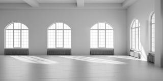 Interior vacío blanco del desván Foto de archivo