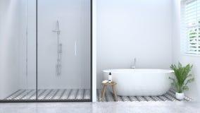 Interior vacío blanco limpio del cuarto de baño, retrete, ducha, representación blanca del cuarto de baño 3d de la teja del fondo fotografía de archivo libre de regalías