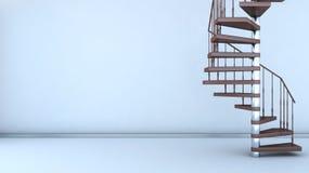 Interior vacío con la escalera espiral Imagenes de archivo