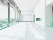 Interior vacío de la sala de estar con la ventana grande Fotografía de archivo libre de regalías