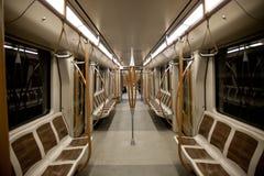 Interior vacío del carro del subterráneo Fotografía de archivo