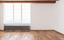 Interior vacío del desván del sitio con las paredes blancas de la ventana grande, los ladrillos, los haces de madera y el piso 3d Fotos de archivo libres de regalías