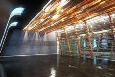 Interior vacío del espacio de oficina del negocio abierto abstracto del piso stock de ilustración