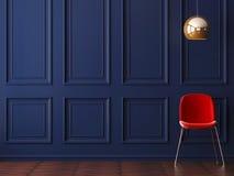 Interior vacío en el estilo de Art Deco con una silla y una lámpara de pie ilustración del vector