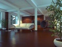 Interior vacío moderno con la planta y el sofá Imagen de archivo libre de regalías