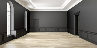 Interior vacío negro clásico del espacio 3d rinden la ilustración stock de ilustración