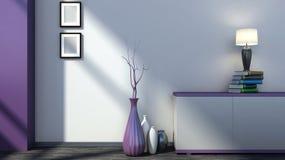 Interior vacío púrpura con los floreros y la lámpara Fotos de archivo