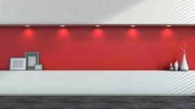 Interior vacío rojo con los floreros blancos Imagen de archivo libre de regalías
