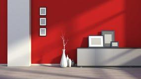Interior vacío rojo con los floreros blancos y la imagen en blanco Fotos de archivo