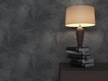Interior vacío con los floreros y la lámpara ilustración 3D Foto de archivo