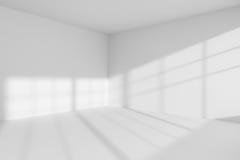 Interior vacío de la esquina del sitio blanco Imágenes de archivo libres de regalías