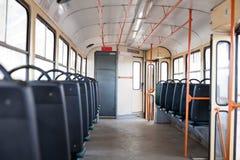 Interior vacío de la tranvía Imagen de archivo libre de regalías