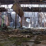 Interior of a vandalized abandoned structure Royalty Free Stock Images