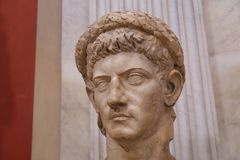 Interior of the Vatican Museums: Bust of Claudius. Interior of the Vatican Museums in Italy photographed during the summer of 2016 royalty free stock images