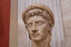 Interior of the Vatican Museums: Bust of Claudius. Interior of the Vatican Museums in Italy photographed during the summer of 2016 stock photos