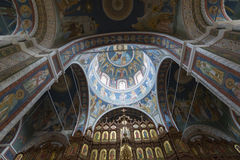 The interior with vaulted ceiling of Cathedral Royalty Free Stock Image