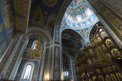 The interior with vaulted ceiling of Cathedral Royalty Free Stock Photos