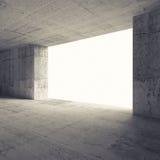 Interior vazio abstrato da sala 3d com muros de cimento Fotografia de Stock Royalty Free