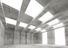 Interior vazio abstrato do concreto 3d com luzes Imagem de Stock