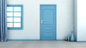 Interior vazio azul com porta e janela ilustração do vetor