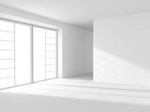 Interior vazio branco abstrato da sala com janela Imagens de Stock Royalty Free
