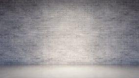 Interior vazio com a parede de tijolo branca velha e o assoalho concreto imagens de stock royalty free