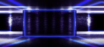 Interior vazio com paredes de tijolo, arcos da luz da janela rendição 3d ilustração stock