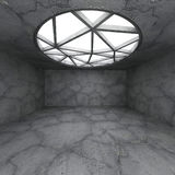 Interior vazio concreto abstrato da sala com a janela redonda grande Fotos de Stock Royalty Free