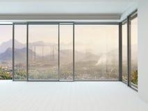 Interior vazio da sala branca com janela enorme Imagem de Stock Royalty Free