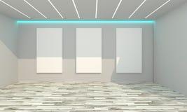 Interior vazio da sala com lona branca Foto de Stock