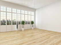 Interior vazio da sala de visitas com assoalho de parquet Fotografia de Stock Royalty Free