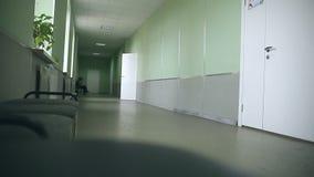 Interior vazio do corredor da escola às classes direitas video estoque