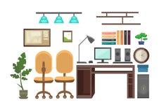 Interior vazio do escritório do espaço de trabalho da mesa do local de trabalho nenhuns povos Imagem de Stock Royalty Free