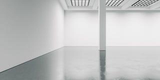 Interior vazio e largo com assoalho concreto 3d Fotos de Stock