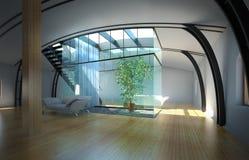 Interior vazio moderno com planta e sofá Fotos de Stock