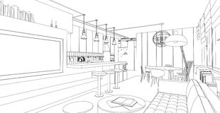 Interior vector drawing. Stock Images