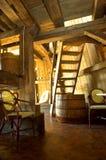 Interior velho do moinho de vento foto de stock