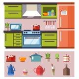 Interior verde de la cocina Imagen de archivo libre de regalías
