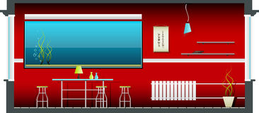 Interior vermelho Ilustração Stock