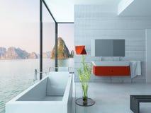 Interior vermelho moderno do banheiro Imagens de Stock