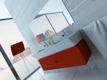 Interior vermelho moderno do banheiro Fotografia de Stock