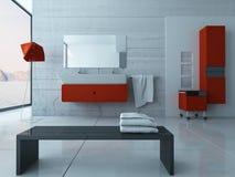 Interior vermelho moderno do banheiro Fotos de Stock Royalty Free