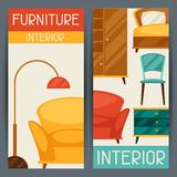 Interior vertical banners with furniture in retro Royalty Free Stock Photography