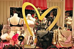 Interior of Victoria`s Secret store. Stock Photos