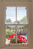 Interior of a Victorian British house with old wooden white windows Royalty Free Stock Image