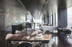 Interior of Vienna contemporary restaurant in sky Stock Photography